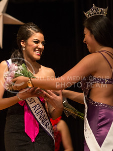 Priscilla de los Santos, masters student in public health and infectious diseases, is awarded 1st runner up in the 2014 Bellaza Latina competition in the KSU ballroom on Saturday, April 19.