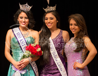 Valeria Guizado, 2014 Miss KSU Bellaza Latina, stands alongside the previous two winners at the third annual Bellaza Latina competition in the KSU ballroom on Saturday, April 19.