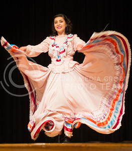 Diana Vasquez, junior in biological systems and engineering, performs a traditional Mexican dance as her talent during the 2014 Bellaza Latina competition in the KSU ballroom on Saturday, April 19.