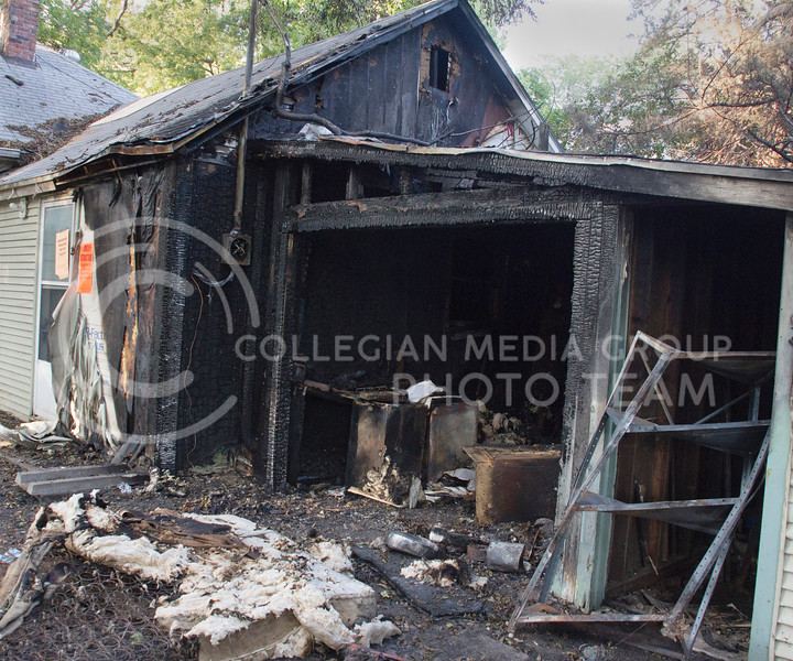 Photo by Taylor Alderman | The Collegian<br /> <br /> 831 Moro Streeet building was damaged in a fire on July 21. After investigating, the Manhattan Fire Department suspects that the fire was caused from possible arson.