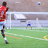 Parker Robb | The Collegian<br /> <br /> Allan Ddamulira, sophomore in biological systems engineering, takes a shot at goalie Alonso Acevedo, sophomore in biochemistry, as the two practice taking shots on goal and saving those shots, respectively, at Old Stadium May 5, 2014.