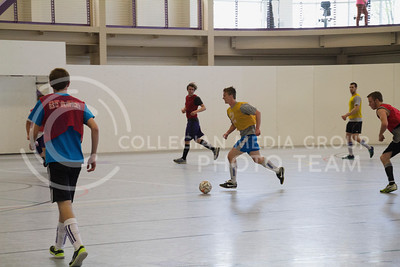 (Photo by Taylor Alderman | Collegian)  K-State students play intramural soccer on Sunday afternoon at the Rec. The Chester E. Peters Recreation Complex offers free access to exercise equipment to all K-State students.