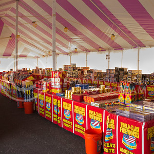 (Photo by Taylor Alderman | The Collegian)  Manhattan is home to many firework stands that are selling fireworks until the 4th of July. Youth Leadership Foundation's purple and white tent in the Westloop Shopping Center opened on Tuesday and is selling fireworks from 8:00a.m. to midnight until Independence Day.