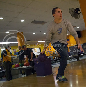 (Photo by Taylor Alderman | Collegian)  Alex Pilsl, senior in entrepreneurship, bowling with buddies on Monday evening, which is dollar night, at the K-State Union. Bowling is one of the many activities that students under twenty-one can enjoy.