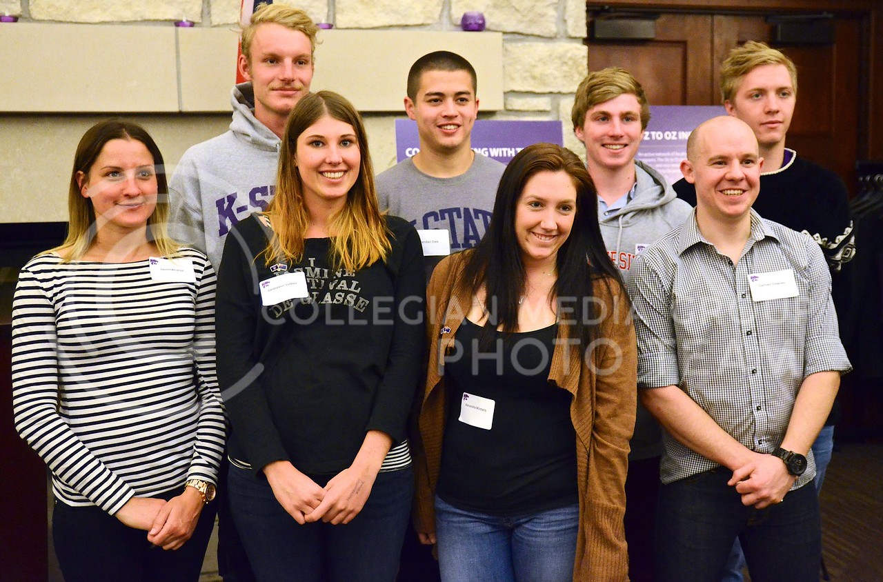 (Photo by Parker Robb   Collegian)<br /> <br /> K-State graduate and undergraduate students from Australia were recognized at a reception at the K-State Alumni Center January 26, 2014, celebrating Australia Day and K-State's exchange and research agreements with several Australian universities.