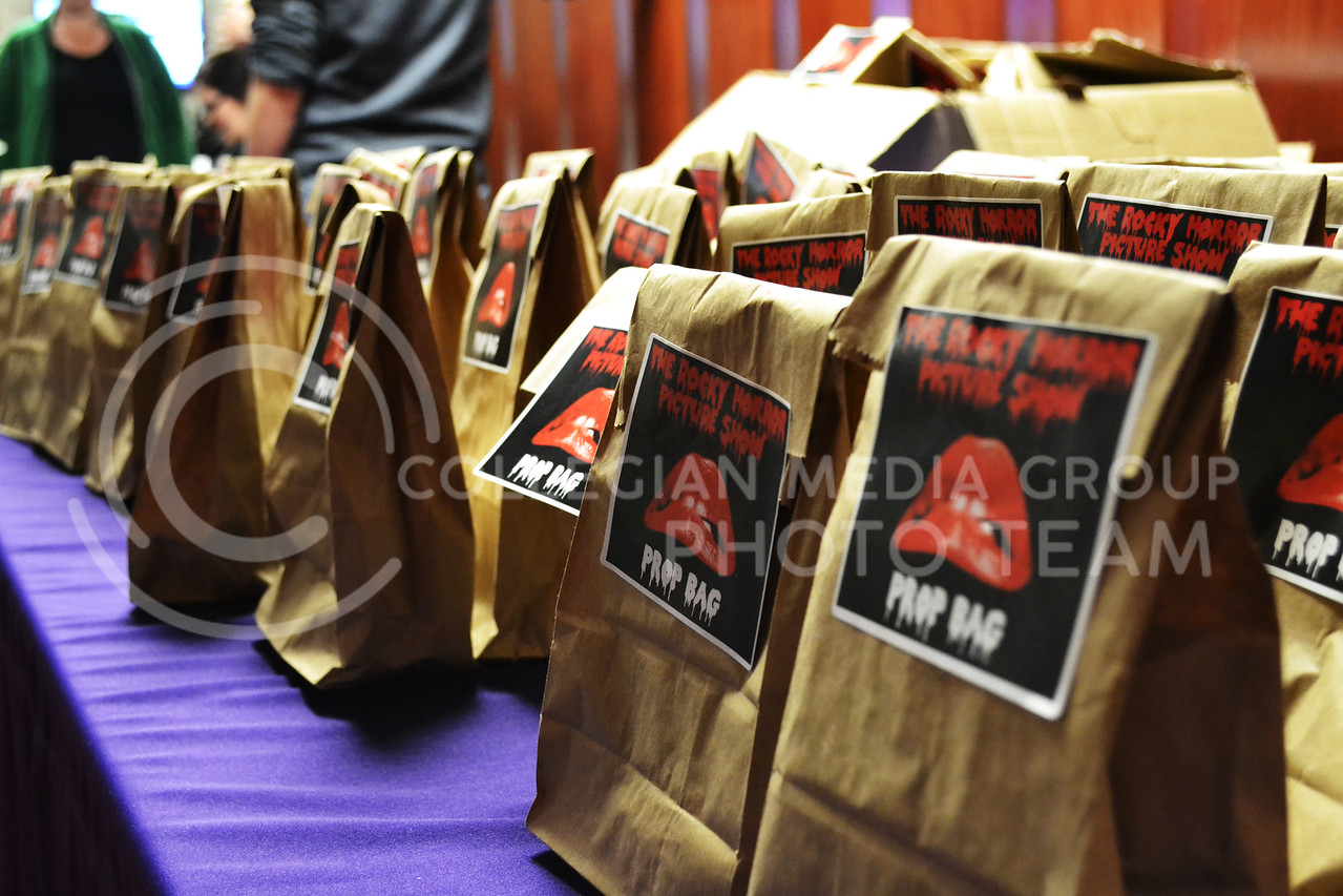 (Photo by Lauren Kuykendall | Collegian)<br /> <br /> On Friday, October 25th the Rocky Horror Picture Show was held in the Union Ballroom. This show was interactive for the audience who were given their own prop bag to use during the film.