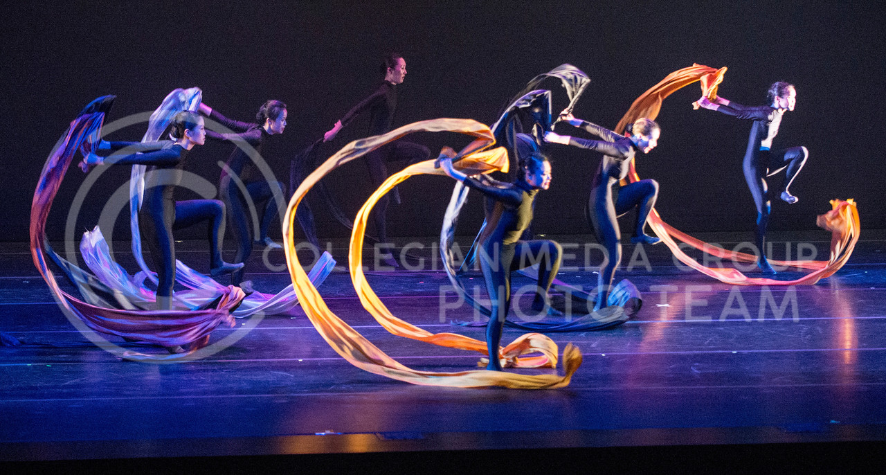 Hannah Hunsinger | The Collegian<br /> Members of the Lily Cai Chinese Dance Company perform with huge ribbons in their final dance during their performance in McCain Auditorium on Feb. 28.