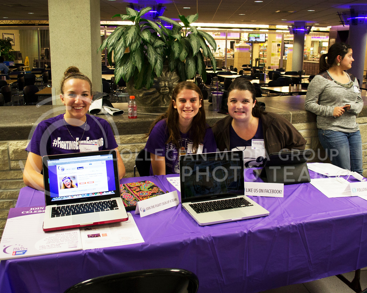 Photo by Lauren Kuykendall   Collegian<br /> <br /> <br /> Senior, Jennifer Dolezal majoring in Biology sits with Amanda Bell a freshman in Elementry Ed and Tamarah Ables a sophomore in Ciminology and Psychology during the early bird event of Relay for Life. This is a K-State student run organization that aims to contribute to the fight against all forms of cancer.