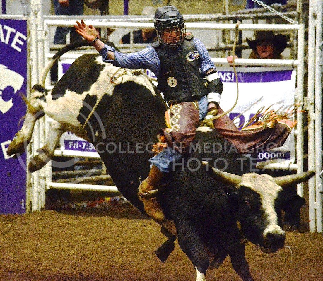 A bull rider holds on for as long as possible as the bull tries to throw him off at the 2013 K-State Invitational Bull Bash January 25 in Weber Arena. Thirty top bull riders will descend on Manhattan to compete in the 2014 Bull Bash, hosted by the K-State Rodeo Club, Friday and Saturday night at 7:00 at Weber Arena.