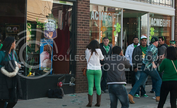 (Photo by Emily DeShazer | The Collegian) Fake Patty's day goers enjoy Aggieville on March 8, 2013.