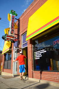 (Photo by Parker Robb | Collegian)  Fuzzy's Taco Shop recently opened in Aggieville in the property vacated by the Hibachi Hut.