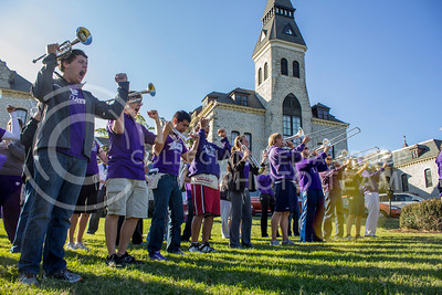 (Photo by Minh Mac   The Collegian)  The Marching Band plays in front of Anderson Hall for the event.  Celebration of the 150th Grand Finale and closing ceremonies reception were held on the Anderson Hall lawn, on Thursday, Oct. 24, 2013. Comers were given free t-shirts, and the special 150 K-birthday flavored Call Hall ice-cream.