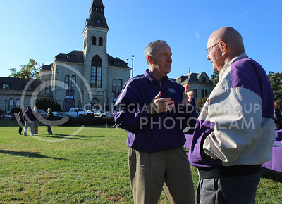 (Photo by Josh Staab   The Collegian)  John Curlin, Kansas State Alumni and former Kansas Governor talks to Alumni Miles Mckee after Kansas State's 150th Anniversary Celebration's conclusion.