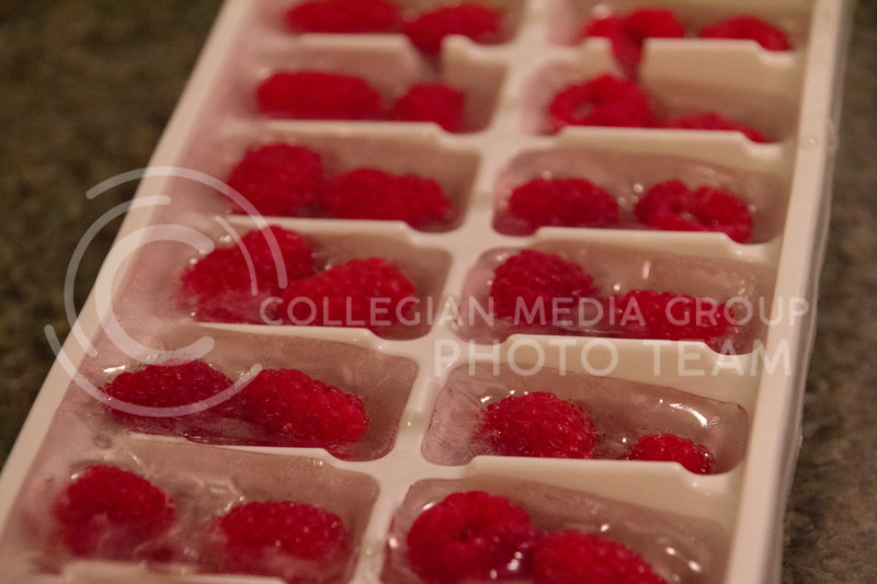 (Photo by Taylor Alderman | Collegian)   One way to incorporate fruit into your diet is to freeze fruit with water in an ice tray and drink it with water.