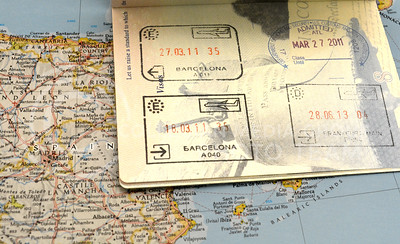 (Photo by George Walker | Collegian)  A student's passport was stamped both when they arrived and when they left Barcelona, Spain.