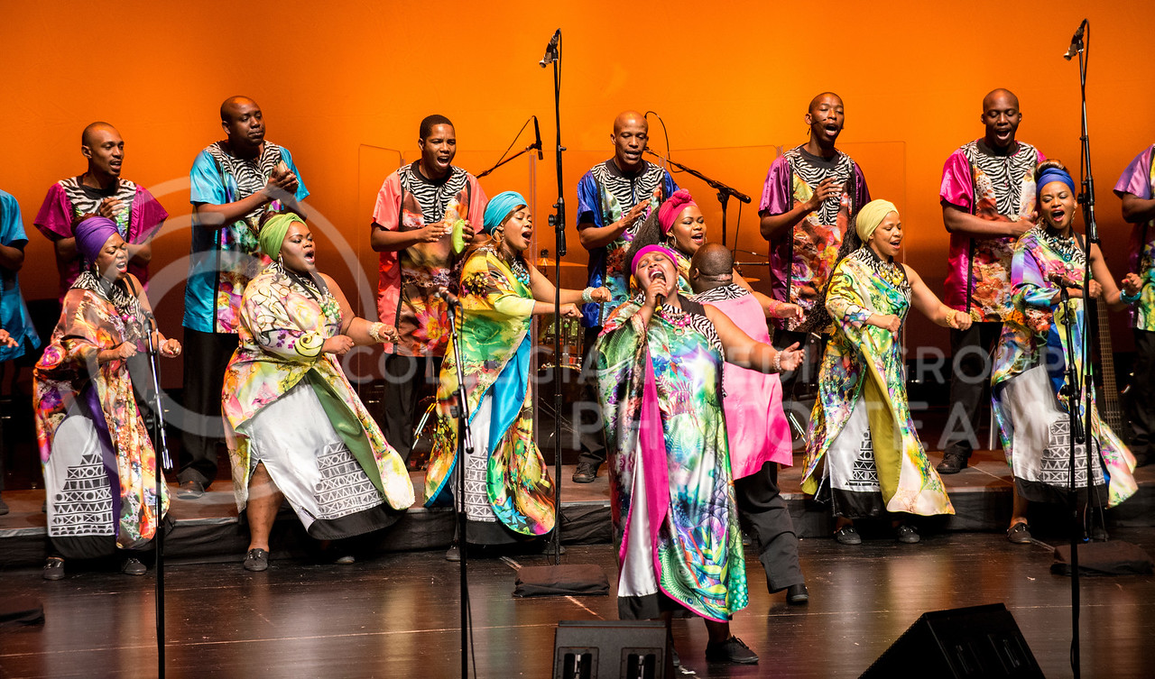 Soweto Gospel Choir of South Africa sing and dance during their first number in McCain Auditorium on March 30.