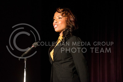Toria Freeman introduces herself at the beginning of the Miss Black and Gold pageant on Dec. 7, 2013, in Forum Hall.