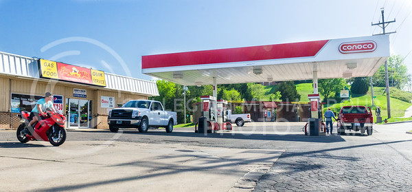 Parker Robb | The Collegian  One person was injured and airlifted to a hospital in another city following a shooting about 1 p.m. May 7, 2014, at the Hop-n-Skip service station on the southwest corner of the intersection of Tuttle Creek Boulevard and Kimbal Avenue.