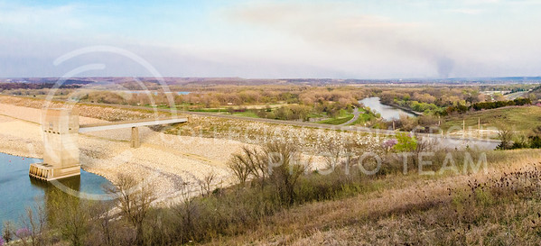 Parker Robb | The Collegian  The Big Blue River snakes away into the distance from the Tuttle Creek dam en route to its rendezvous with the Kansas River on the southeast side of Manhattan. Over $1 billion worth of property lies in the floodplain below Tuttle Creek Lake.