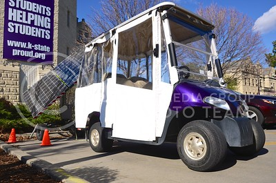 Parker Robb | The Collegian  The The Student Access Center, the Office of Sustainability and a local Manhattan inventor recently joined forces in order to provide a golf cart that is powered by the sun to transport disabled students around the K-State campus. The detachable solar panels, unlike conventional solar panels, follow the sun in order to collect the maximum amount of energy possible.