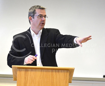 (Photo by George Walker | Collegian)  Dr. Gregory Eiselein, named Carnegie/CASE Kansas Professor of the Year, teaches his English 720 Class, Studies in Major Authors: Louisa May Alcott and Mark Twain.