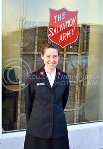 (Photo by George Walker | Collegian)  Lt. Kirsten Aho, Corps Officer at the Manhattan Salvation Army, stands outside the Salvation Army thrift store.