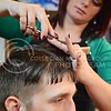 (Photo by Parker Robb | Collegian)<br /> <br /> Jessica Francis, hairstylist at Shear Dynamics, cuts the hair of Dylan Howe, fourth-year architecture student, Monday afternoon. Shear Dynamics, which was voted the best salon in Manhattan, offers a very wide range of salon and spa services, including haircuts, nail treatments, body treatments, facials and massages.
