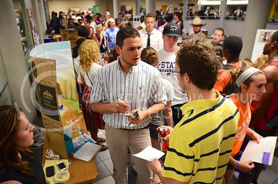 (Photo by Parker Robb | Collegian)  K-State students flocked to the K-State Student Union Aug 29 to browse the displays and learn about various student organizations and clubs.