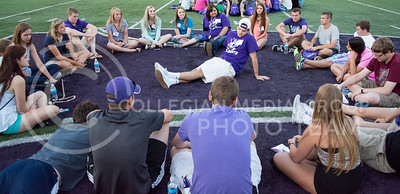 Photo by George Walker | Collegian  Incoming freshman Eric Banzhaf tells his K-State story to the Hit Me Baby One Moore Time group at Wildcat Warmup. The new students each shared their own story of why they chose K-State.