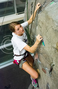 Photo by George Walker | Collegian  Incoming freshman Katie Sorenson climbs the rock wall at the Recreational Center during Wildcat Warmup. The rock wall is part of the newest expansion of the Recreational Center.