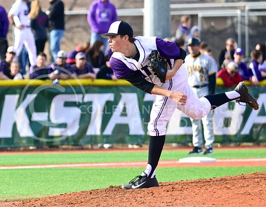 Photo by Parker Robb | The Collegian  Sophomore right-handed pitcher Levi MaVorhis hurls a ball toward an Iowa batter in the top of the fourth inning in the Wildcats' defeat of Iowa March 7, 2014.