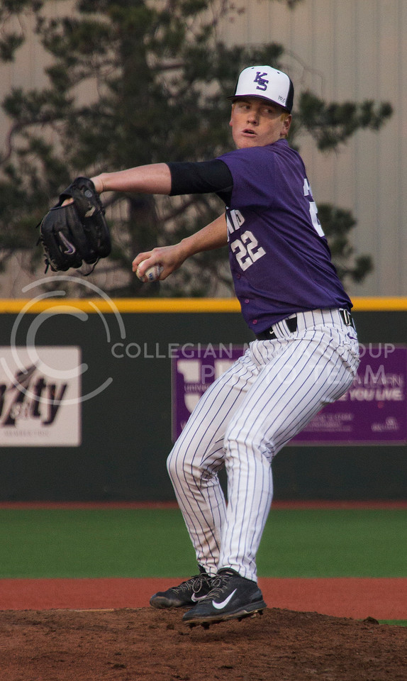 (Photo by Taylor Alderman | Collegian)<br /> <br /> Jake Frosman, freshman right-hand pitcher, pitched for three innings on April 18, 2014 at Tointon Family Stadium. K-State won the series against Baylor 2-1.
