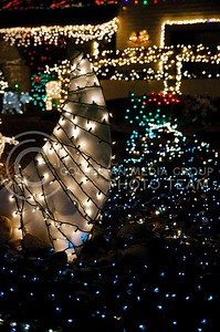 (Photo by Parker Robb | Collegian)  Christmas lights on a house in the Scottsdale area of Phoenix, including this shark fin, brighten Christmas night December 25, 2013, preceding K-State's appearance in the Buffalo Wild Wings Bowl December 28.