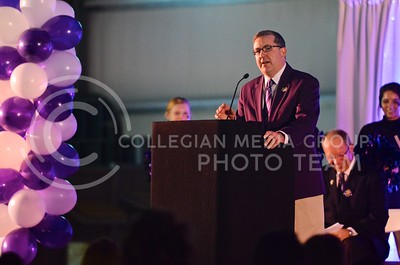 (Photo by Parker Robb | Collegian)  K-State president Kirk Schulz talks at the K-State bowl game pep rally at Rawhide Western Town in Phoenix December 27, 2013.