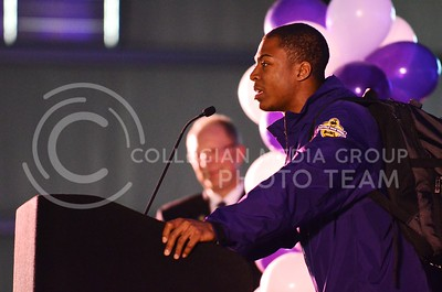 (Photo by Parker Robb | Collegian)  K-State junior wide receiver Tyler Lockett at the K-State bowl game pep rally at Rawhide Western Town in Phoenix December 27, 2013.