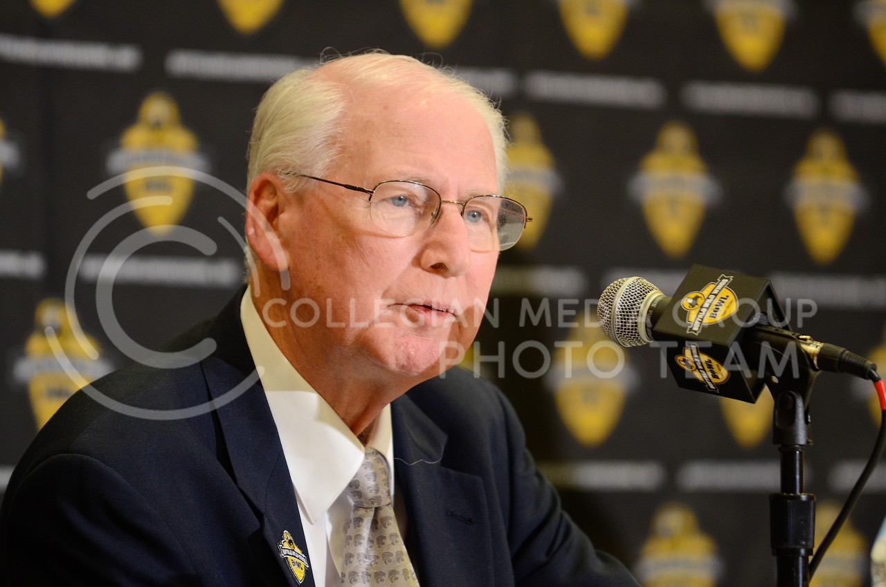 (Photo by Parker Robb | Collegian)<br /> <br /> K-State head coach Bill Snyder responds to questions from the media during K-State's Buffalo Wild Wings Bowl media day December 26, 2013.