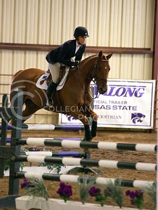 (Photo by Jed Barker | Collegian) K-State's Rachel Webster, riding the horse named Spot, competes in Equitation Over Fences against Texas A&M at Timbercreek Stables in Manhattan, Kansas on October 5, 2013. Rachel bested her Texas A&M counterpart by 3 points.