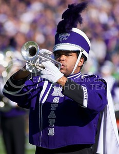 Photo by Jed Barker | The Collegian  A member of the K-State marching band performs before the football match against West Virginia at Bill Snyder Family Stadium on October 26, 2013.