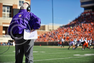 (Photo by Parker Robb |  Collegian)  K-State head coach Bill Snyder watches his team play during the third quarter of the Wildcats' game against Oklahoma State in Stillwater, Oklahoma, Saturday afternoon. The Cowboys beat the Wildcats 33-29 in a tense game that went down to the wire, sealing their win with an interception with eighteen seconds remaining.