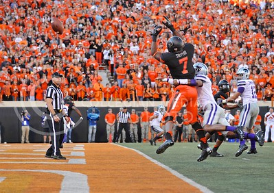 (Photo by Parker Robb |  Collegian)  OSU wide receiver Brandon Sheperd and K-State defensive back Kip Daily contest a pass in the end zone during the fourth quarter of the Wildcats' game against Oklahoma State in Stillwater, Oklahoma, Saturday afternoon. The Cowboys scored a touchdown on the next down to take the lead 30-29.