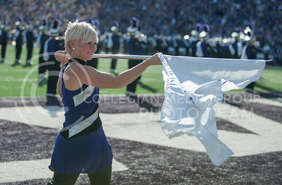 (Photo by Taylor Alderman / The Collegian)  A color guard member performs before the game on Nov. 16, 2013 at Bill Snyder Family Stadium.