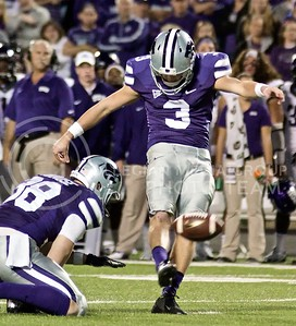 Photo by Jed Barker | The Collegian  Sophomore place kicker Jack Cantele kicks a field goal against TCU at Bill Snyder Family Stadium on November 16, 2013.  The Wildcats beat the Horned Frogs 33-31 after Cantele hit another field goal during the last few seconds of the game.