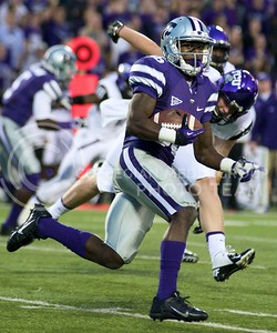 Photo by Jed Barker | The Collegian  K-State senior wide receiver Tramaine Thompson rushes downfield against the TCU Horned Frogs at Bill Snyder Family Stadium on November 16, 2013.