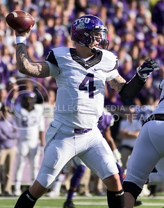 Photo by Jed Barker | The Collegian  TCU starting quarterback Casey Pachall raises his arm to throw the ball against the K-State Wildcats at Bill Snyder Family Stadium on November 16, 2013.