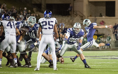 (Photo by Taylor Alderman / The Collegian)  Sophomore kicker Jack Cantele winds up for the game winning field goal against TCU on Nov. 16, 2013 at Bill Snyder Family Stadium.