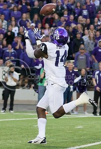 Photo by Jed Barker | The Collegian  TCU wide receiver David Porter catches a pass for 51-yard touchdown against the K-State Wildcats at Bill Snyder Family Stadium on November 16, 2013.