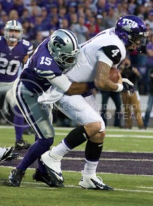 Photo by Jed Barker | The Collegian  K-State junior defensive back Randall Evans sacks TCU quarterback Casey Pachall during the game agains the Horned Frogs at Bill Snyder Family Stadium on November 16, 2013.