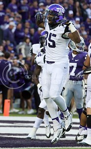 Photo by Jed Barker | The Collegian  TCU wide receiver LaDarius Brown celebrates after TCU scored a touchdown against the K-State Wildcats at Bill Snyder Family Stadium on November 16, 2013.