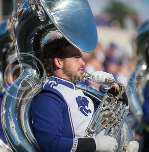(Photo by Taylor Alderman / The Collegian)  A tuba player gets ready to take the field to perform on Nov. 16, 2013 at Bill Snyder Family Stadium.