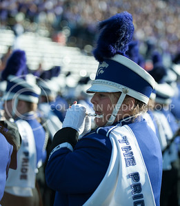 (Photo by Taylor Alderman / The Collegian)  A band member performs before the crowd on Nov. 16, 2013 at Bill Snyder Family Stadium.